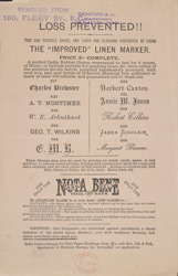 Advert for Nota Bene, India ink rubber stamp manufacturer, reverse side